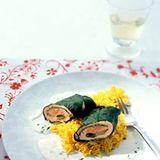 Lachs-Mangold-Rouladen mit Estragonsauce