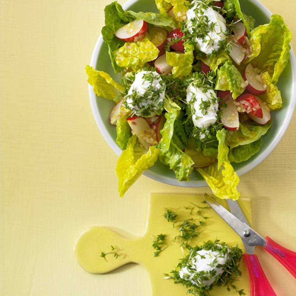 Radieschensalat mit Kresse-Käse-Nocken