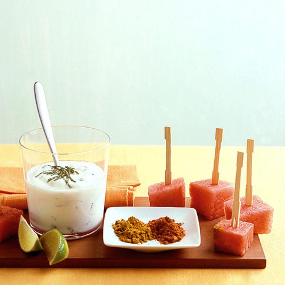 Wassermelone mit Minzjoghurt