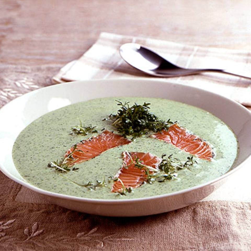 Kressesuppe mit Lachs Rezept