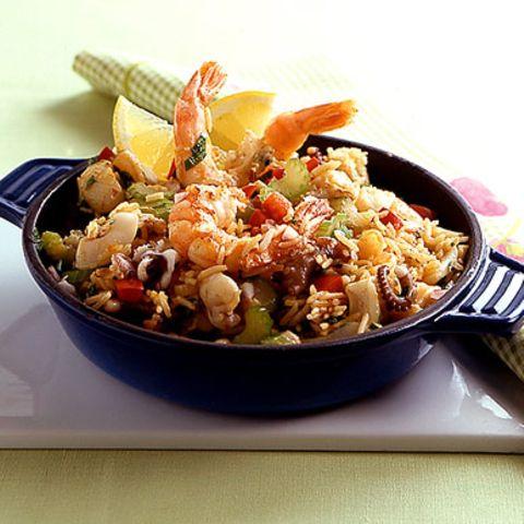 Schnelle Meeresfrüchte-Paella