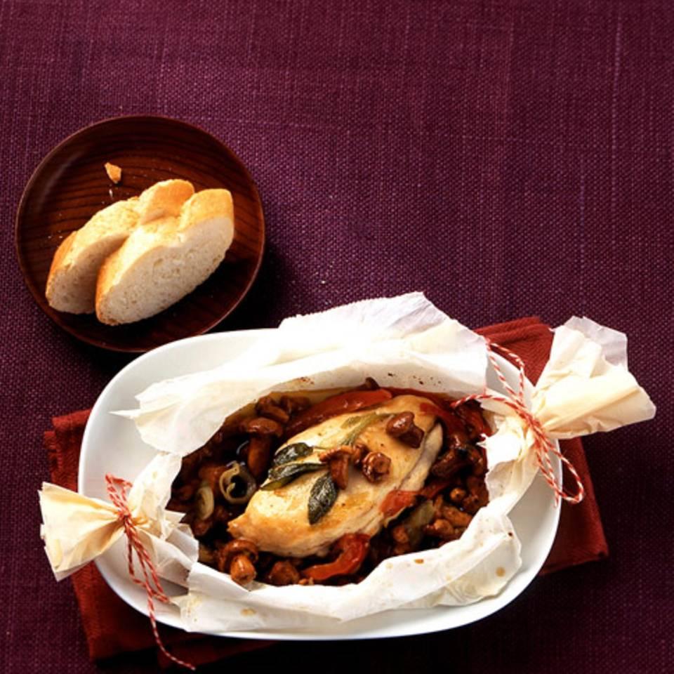 Hähnchenpäckchen mit Pfifferlingen Rezept