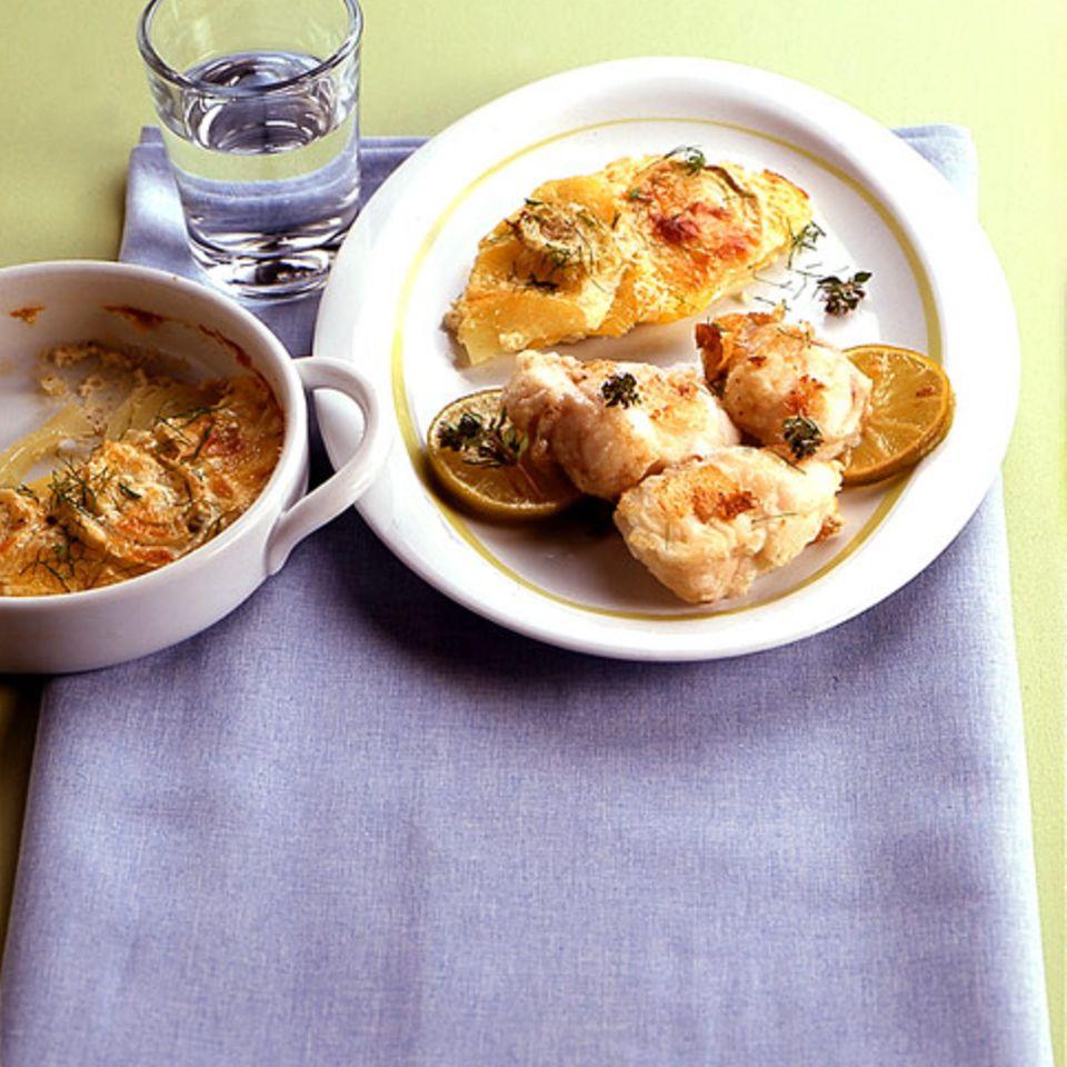 Kartoffel-Fenchel-Gratin mit Seeteufel