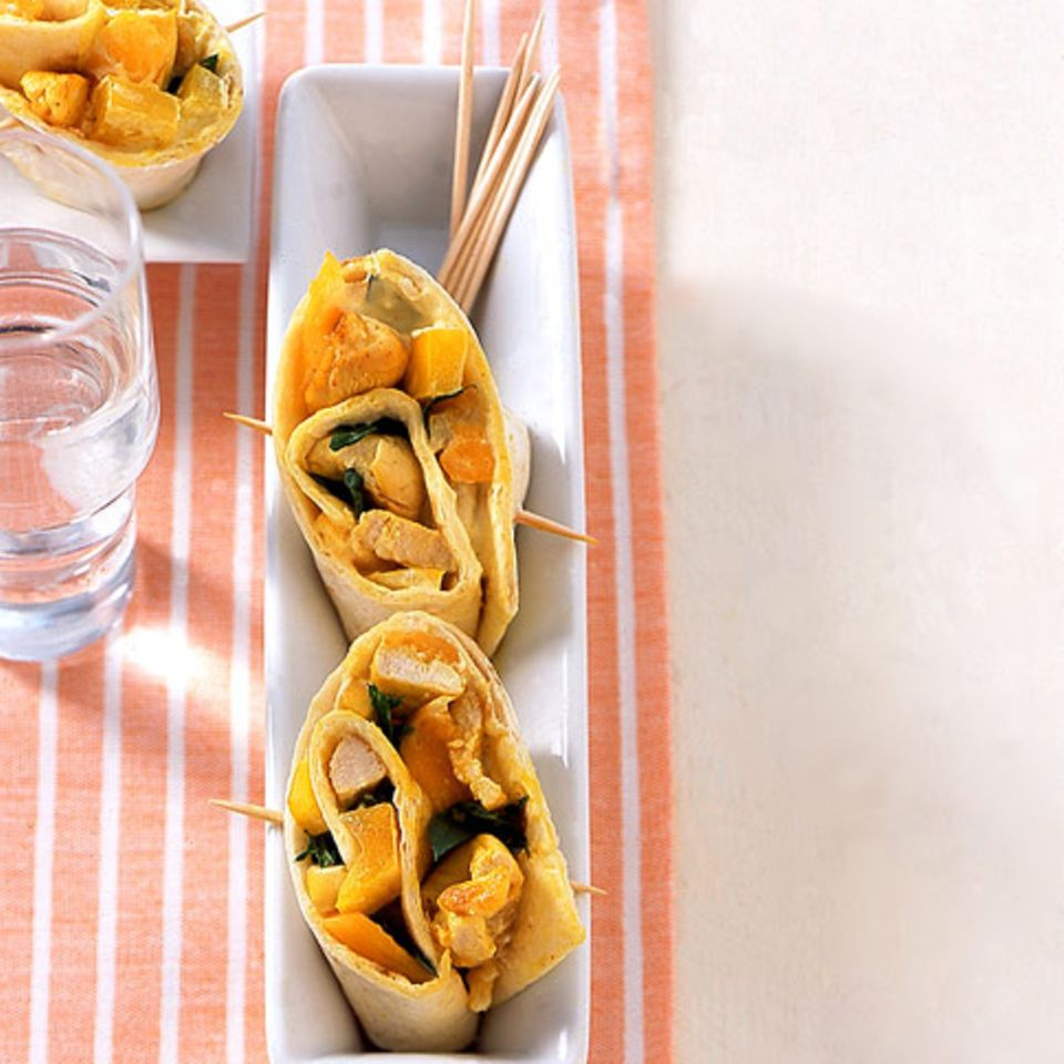 Pikante Hähnchen-Mango-Röllchen