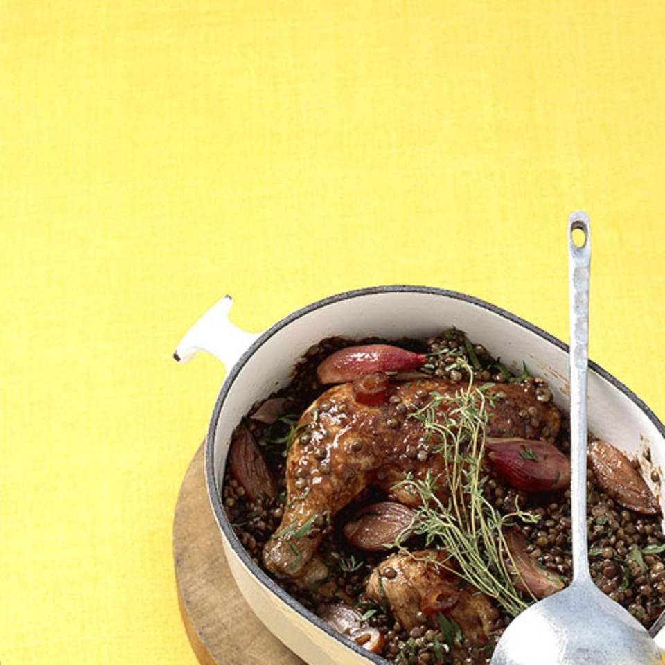 Hähnchen mit Puy-Linsen Rezept