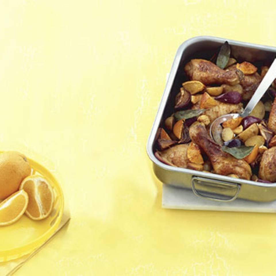 Orangen-Hähnchenkeulen Rezept
