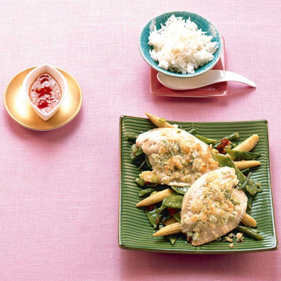 Fischfilet in Zitronengraskruste
