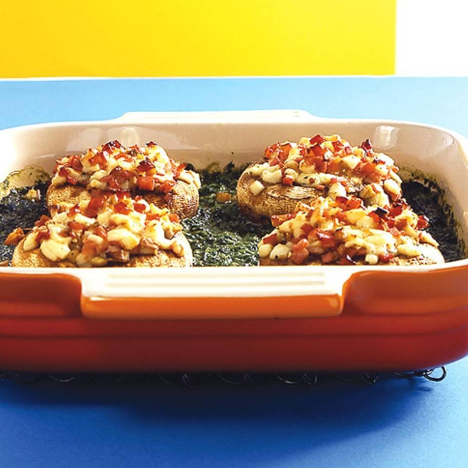 Gefüllte Champignons mit Schinken udn Spinat Rezept