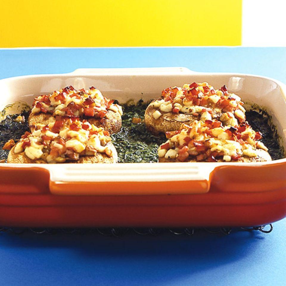 Gefüllte Champignons mit Schinken udn Spinat
