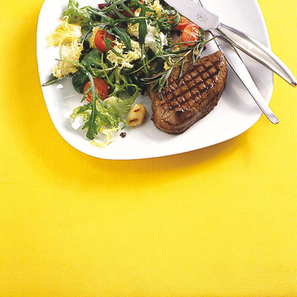 Hüftsteak mit Blattsalat
