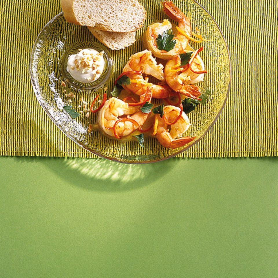 Scharfe Orangen-Garnelen