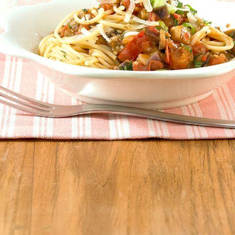 Scharfe Gemüsespaghetti