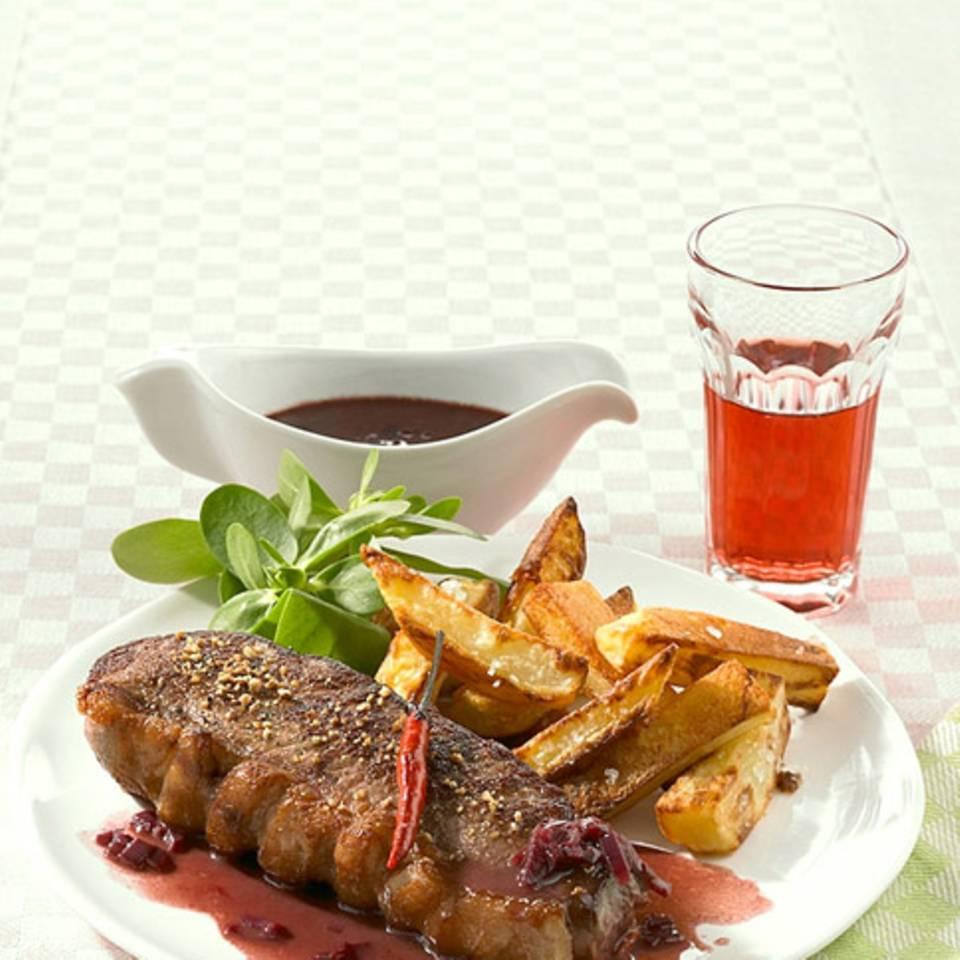 Steak mit Rotweinsauce Rezept