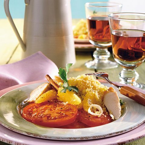 Orangen-Couscous mit Kaninchenfilet