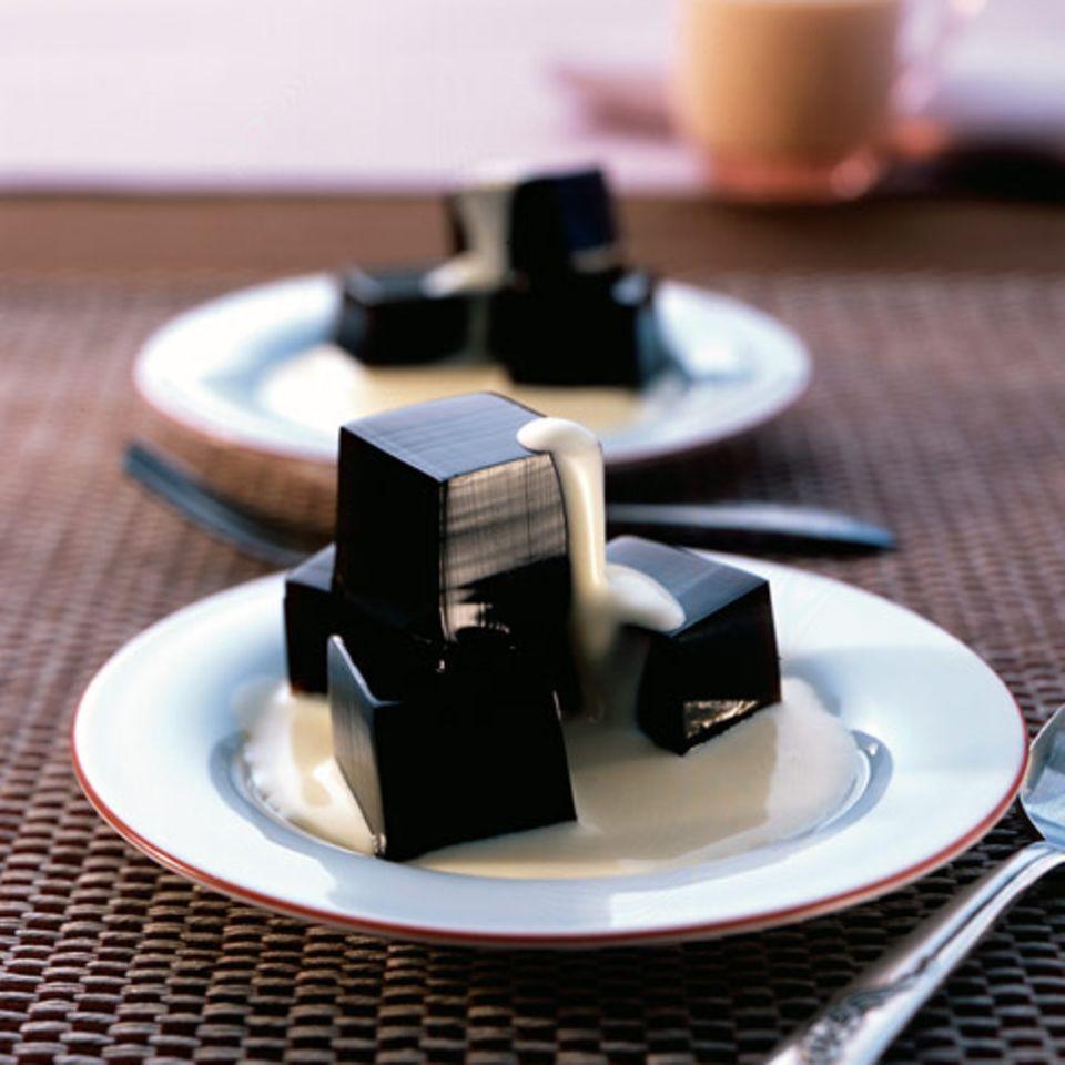 Espresso-Gelee mit Kokossauce