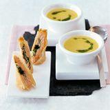 Maissuppe mit Lachs- Frühlingsröllchen