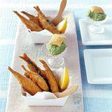 Gurkensorbet mit gebackenen Sardinen