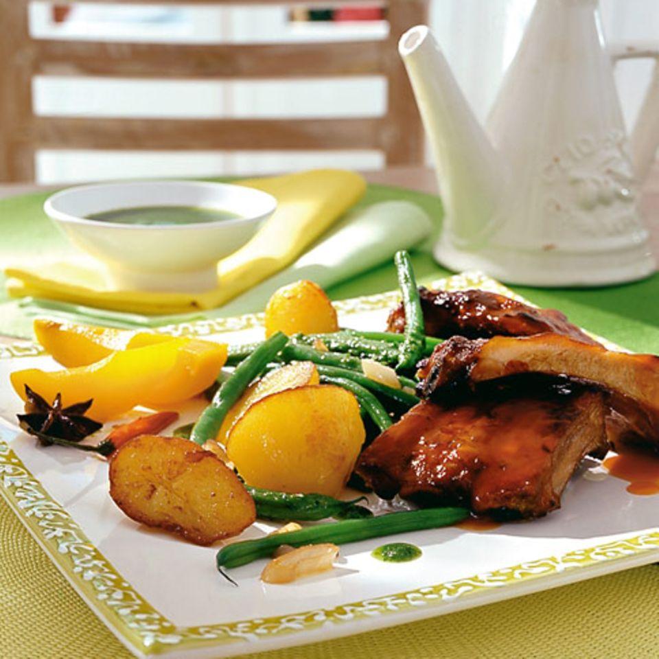Birnen, Bohnen und Kartoffeln mit Pesto