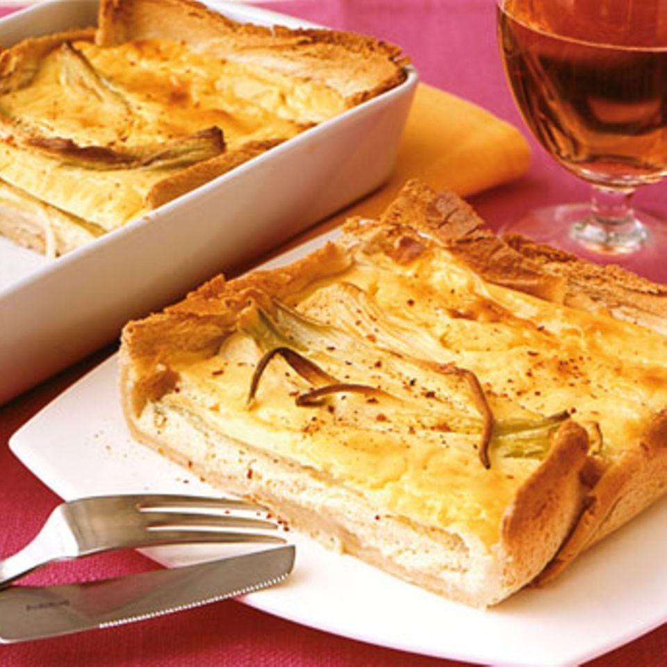 Frühlingszwiebelfrischkäse-Tarte
