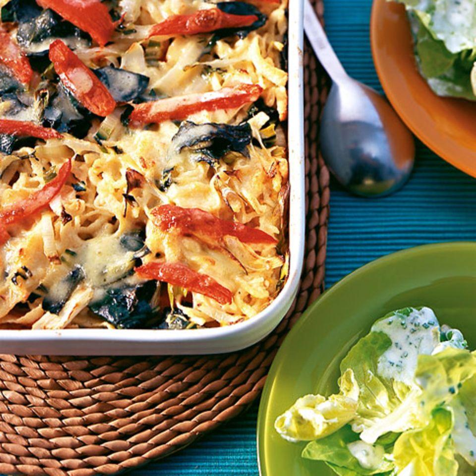 Spätzleauflauf mit Mangold und Tomaten