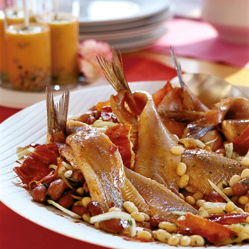 Matjes mit Bohnensalat