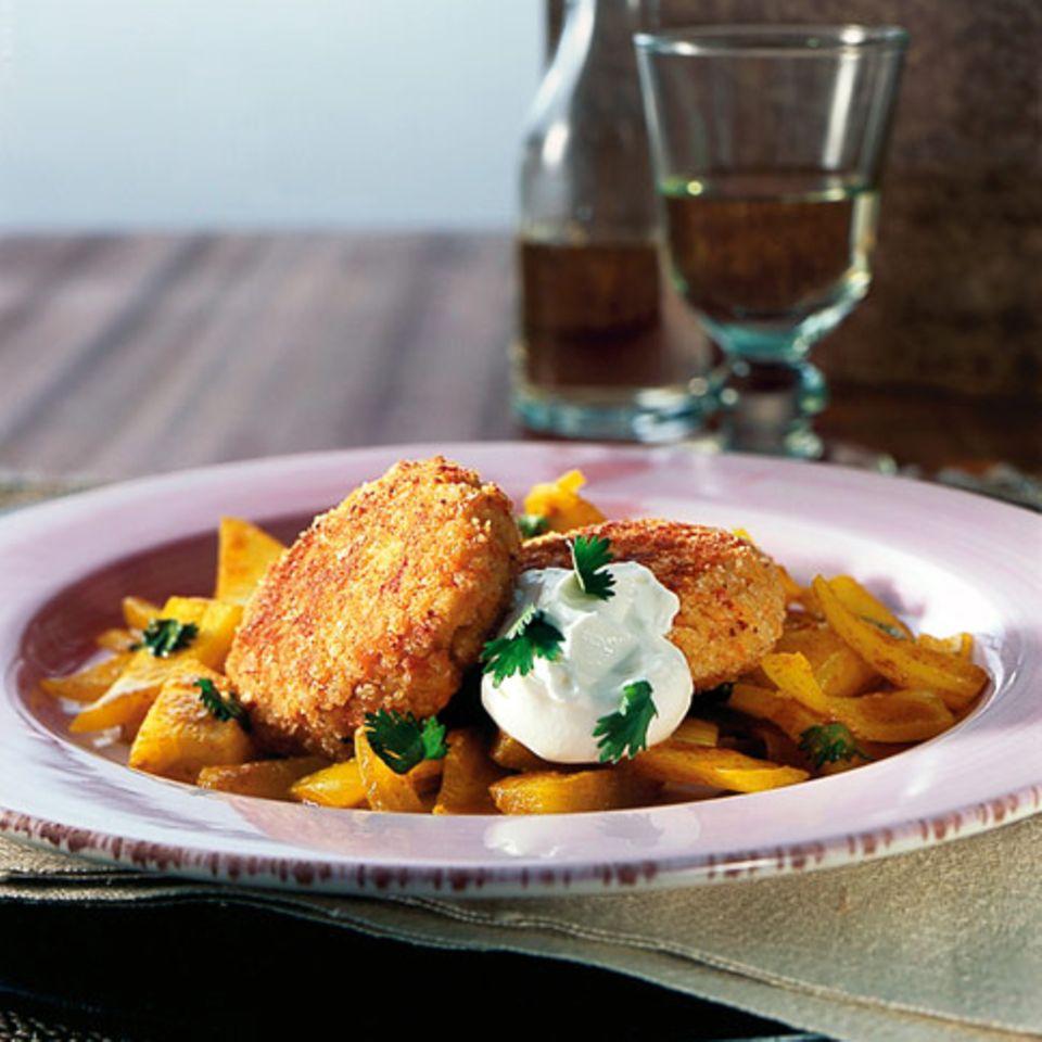 Gemüsebuletten mit Curryzwiebeln