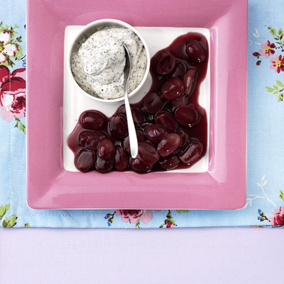 Rotweintrauben mit Mascarpone