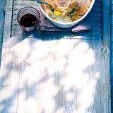 Orangen-Reis-Auflauf mit Granatapfelsauce