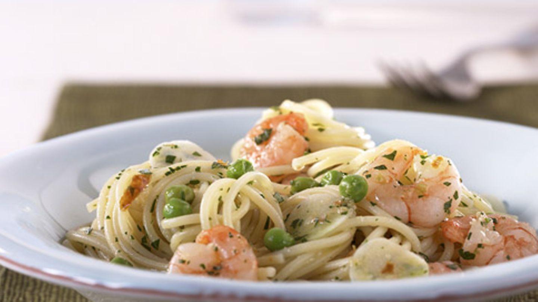 Spaghetti aglio e olio mit Garnelen Rezept