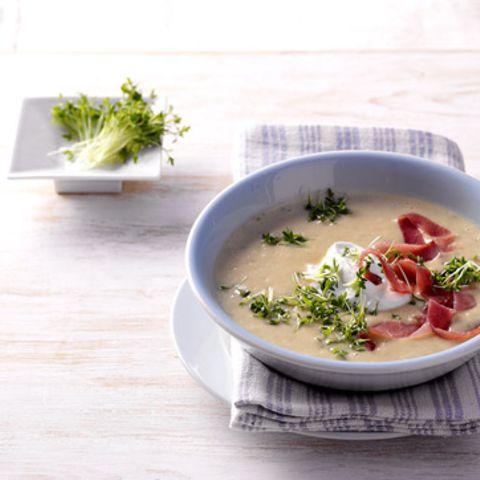 Kressesuppe mit Schinken
