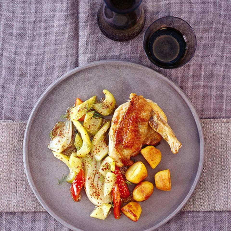 Senf-Gemüse mit Perlhuhnbrust Rezept