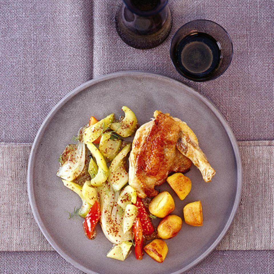 Senf-Gemüse mit Perlhuhnbrust