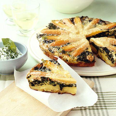Tortilla mit Möhren und Spinat