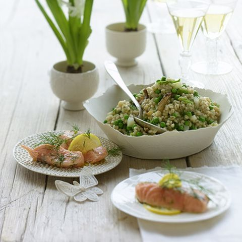Dill-Lachs mit Graupen