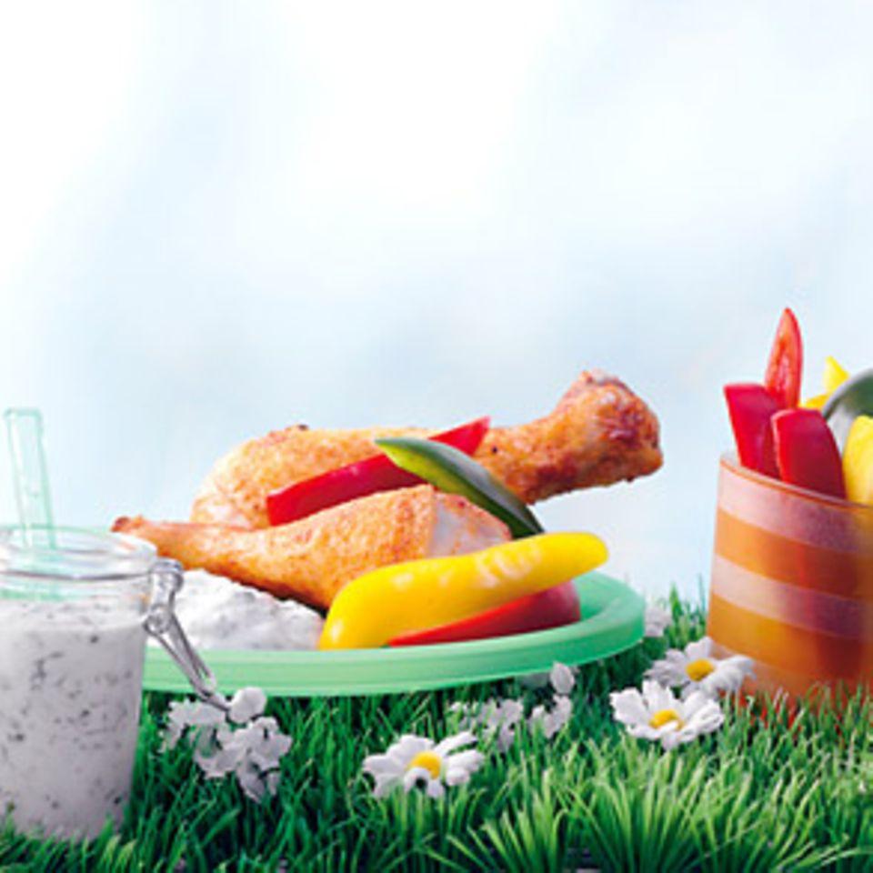 Drumsticks mit Frühlingsquark und Paprika