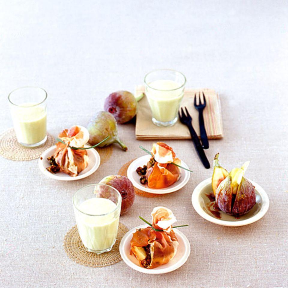 Melonensuppe Mozzarellapäckchen