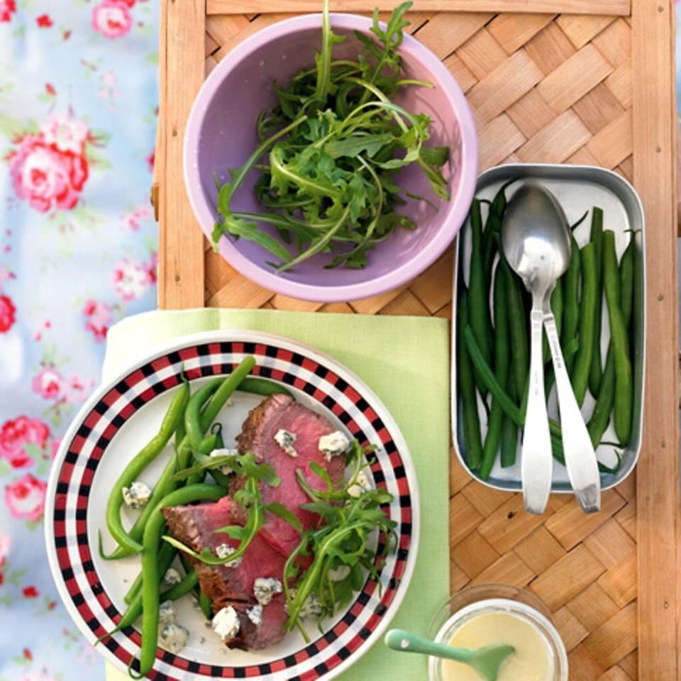 Roastbeef mit Stilton und grünen Bohnen Rezept