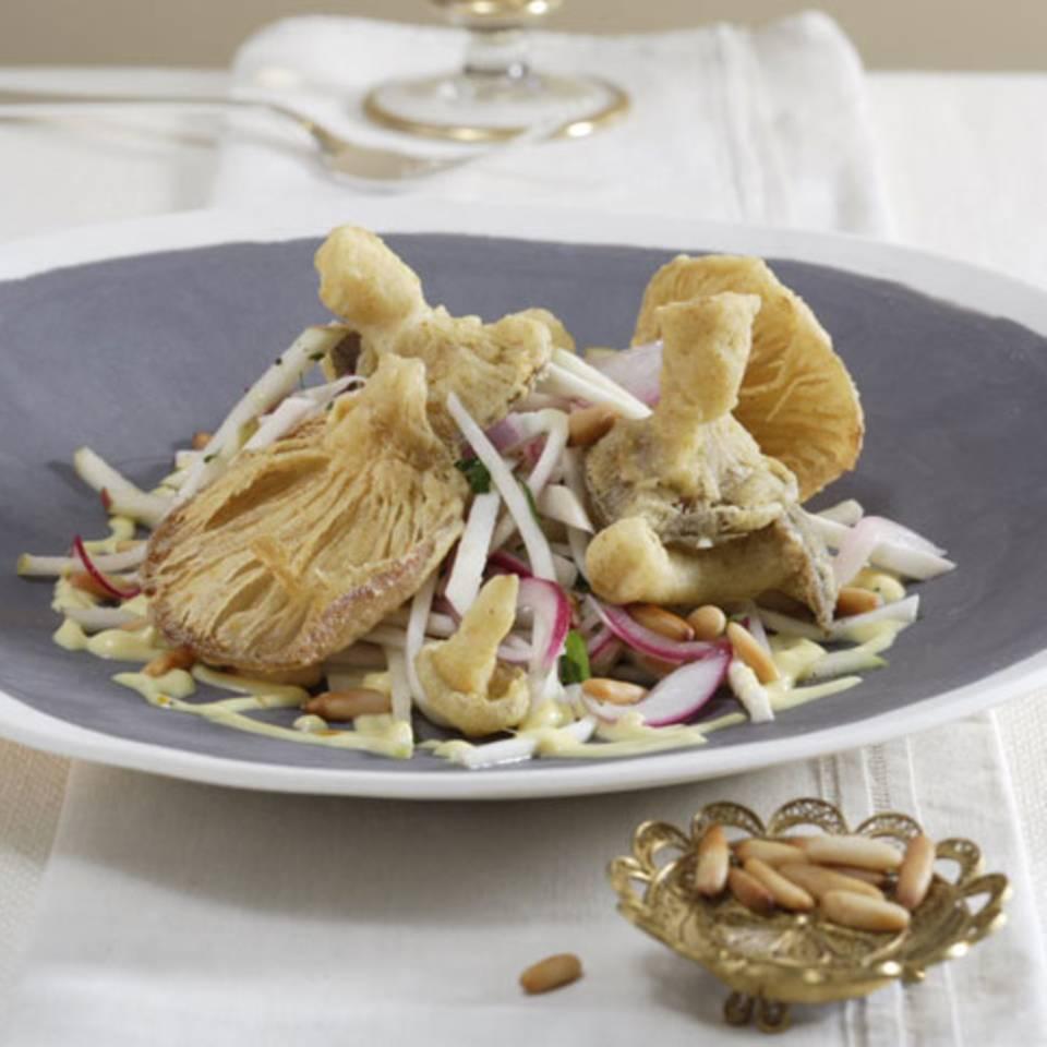Selleriesalat mit frittierten Pilzen Rezept