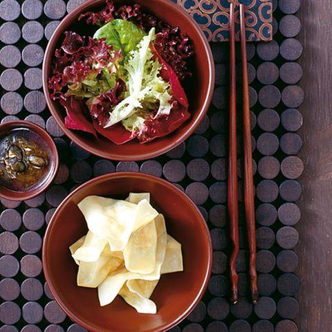 Kürbis-Wan-Tans mit Minz-Pesto