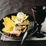 Kartoffelblätter mit Kalbsrücken und Thunfischcreme