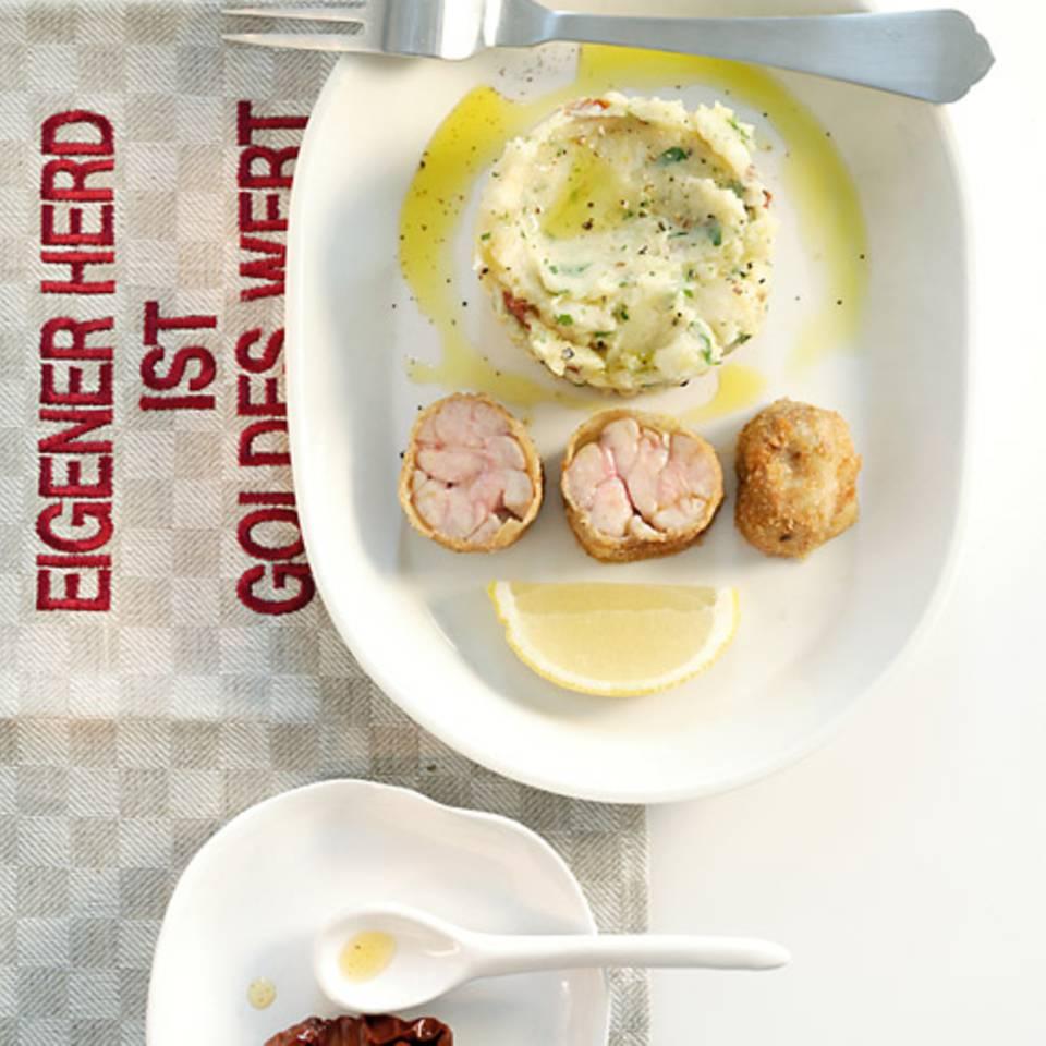 Kalbsbries mit Kartoffel-Oliven-Stampf Rezept