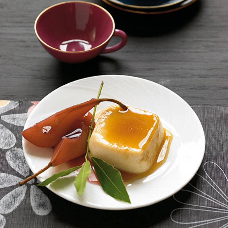 Lorbeer-Crème-Caramel mit Birnen Rezept