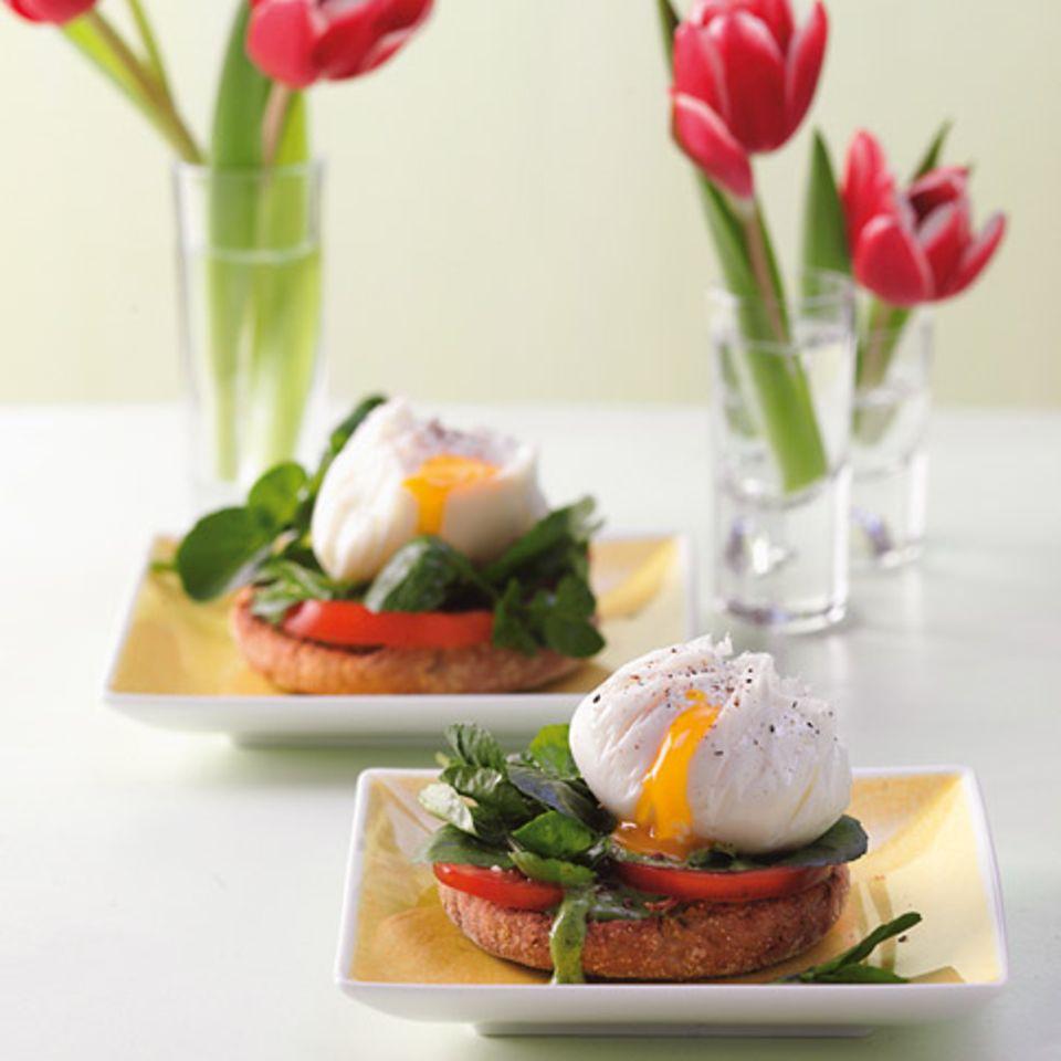 Pochiertes Ei mit Brunnenkresse