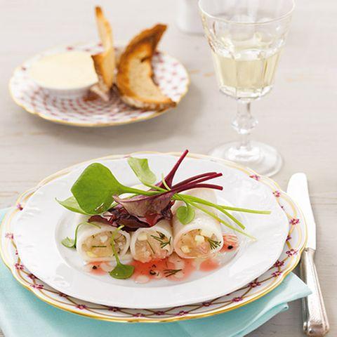 Rettich-Cannelloni mit Forellen-Tatar