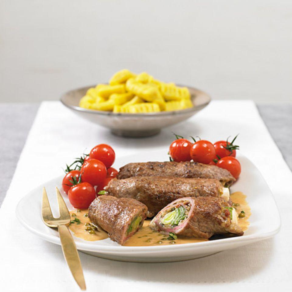 Rumpsteak-Rouladen mit grüner Pfeffersauce