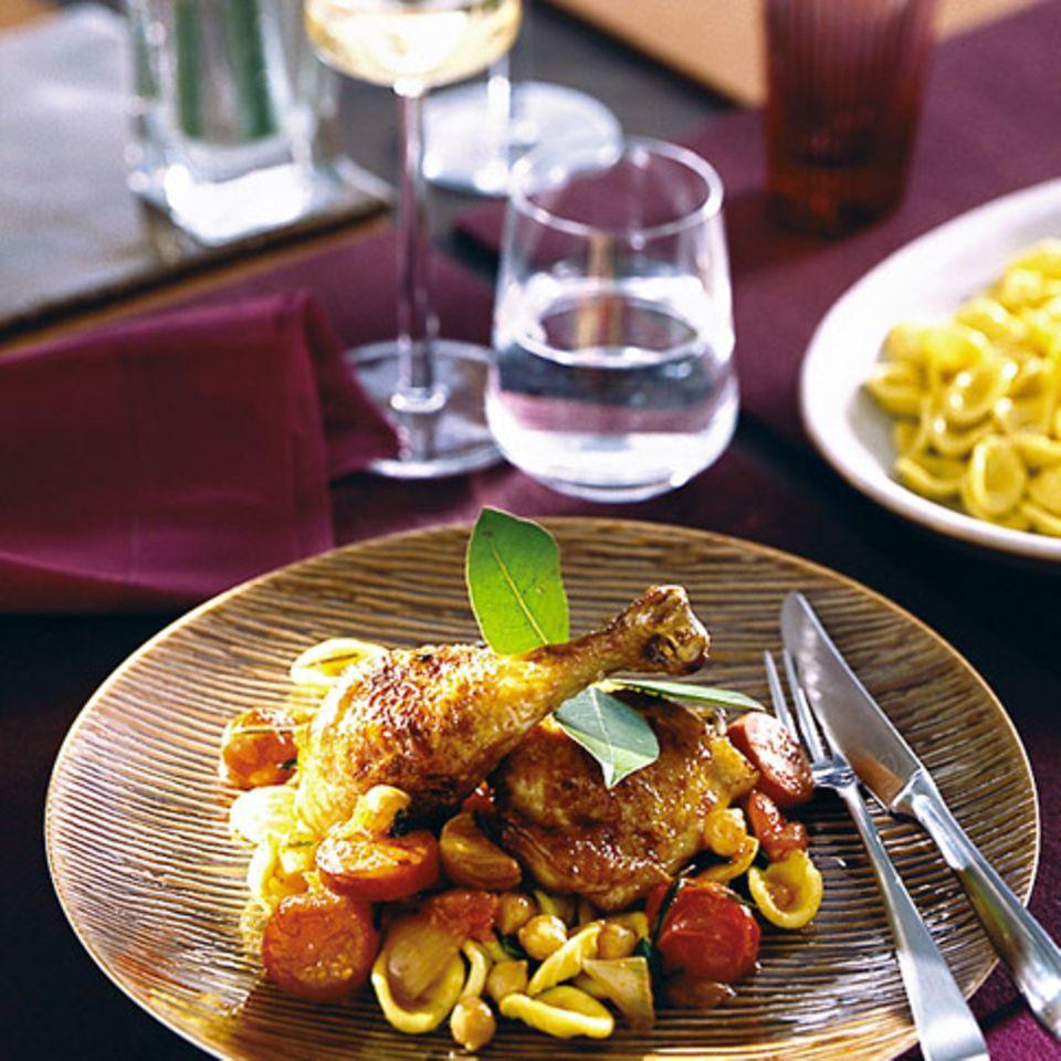 Hühnchen mit Chorizo und Kichererbsen