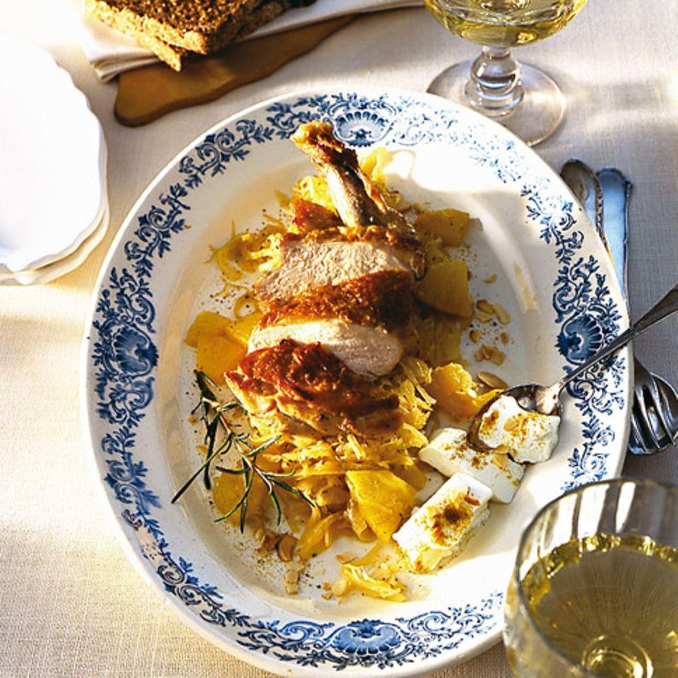 Curry-Sauerkraut mit Perhuhnbrust