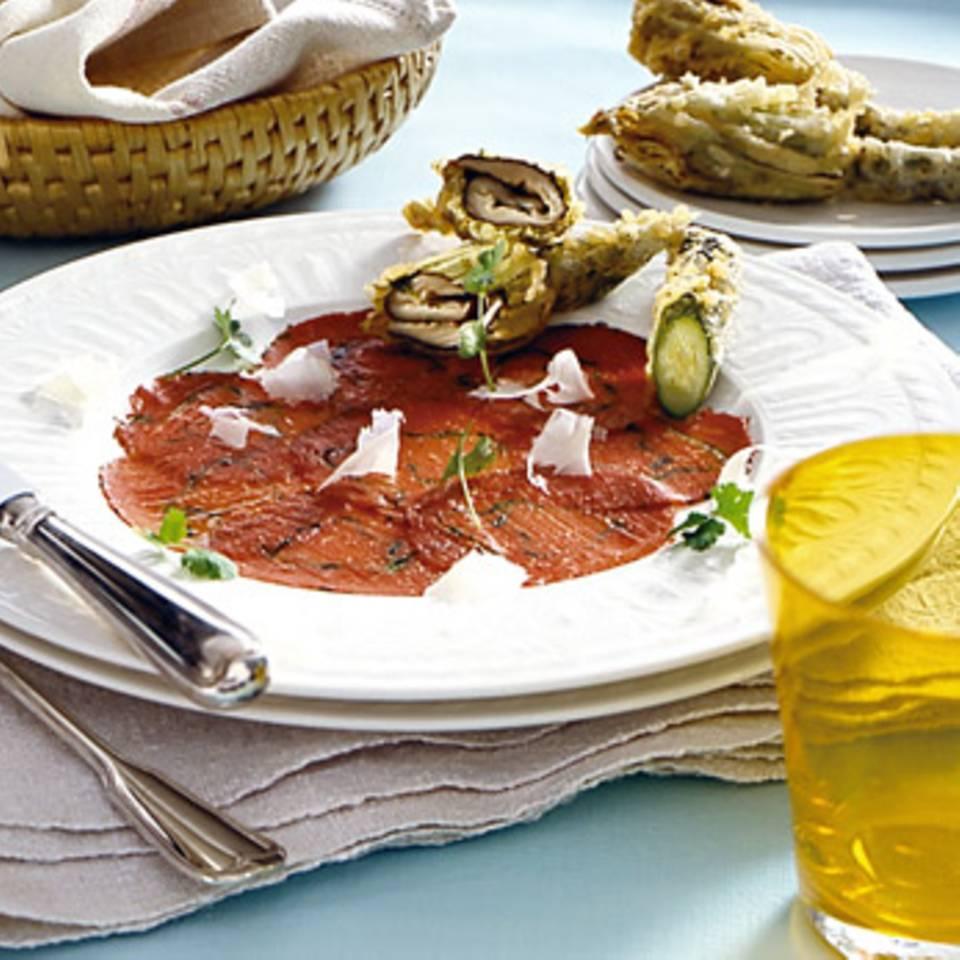 Carpaccio mit Zucchiniblüten Rezept
