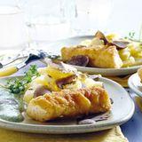 Fischstäbchen mit Kartoffel-Trüffel-Salat