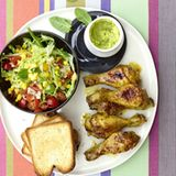 Drumsticks mit Hot-Curry-Guacamole
